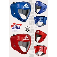 ADIDAS - AIBA Approved Open Face Head Gear/Guard - Red/Extra Large