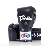 FAIRTEX - Professional Leather/Lace Up Fight Gloves (BGL6) - Navy/8oz
