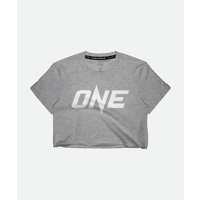 ONE Heather Grey Logo Crop Tee