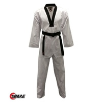 SMAI - Black V Ribbed Taekwondo Dobok/Uniform