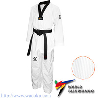 WACOKU - Black V Ribbed TaeKwondo Dobok/Uniform - WT Approved